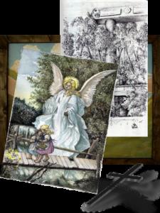 Handgemalte Bilder - ein Engel beschützt ein Kind